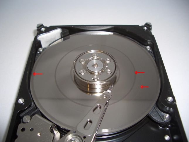 hard drive platter damage: where the heads have come into contact with the platters